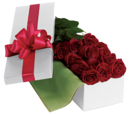 Red roses in box arrangement